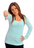 Thumbs down girl Stock Photography