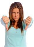 Thumbs Down Girl Stock Photography