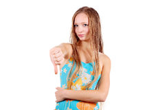 Thumbs down! Girl in sport's swimming suit Stock Photography
