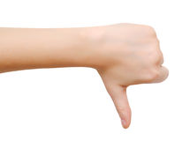 Thumbs down hand Stock Photography