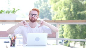 Thumbs Down by Man Sitting in Balcony of Office, Outdoor. Creative designer , businessman stock video footage