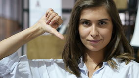 Thumbs Down by Mature Lovely Girl,  Portrait stock video footage
