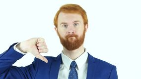 Thumbs Down by Red Hair Beard Businessman. Designer , young man , handsome stock footage