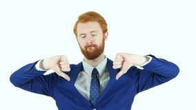 Thumbs Down by Red Hair Beard Businessman, White Background stock video footage