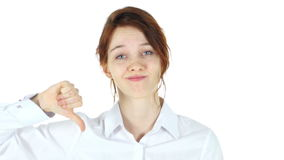 Thumbs Down, Red Hair Woman on White Background stock video