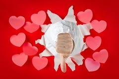 Thumbs down to romance Stock Photo