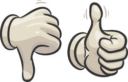 Thumbs down and up. Hands are making thumbs up and down signals,  in two different layers Royalty Free Stock Photography
