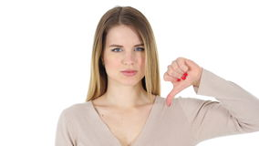 Thumbs Down, Woman on White Background stock footage