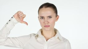 Thumbs Down by Woman, White Background stock footage