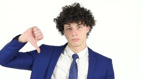 Thumbs Down by Young Businessman, White Background stock video footage