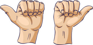 Thumbs pointing away from each other Stock Photography