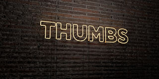 THUMBS -Realistic Neon Sign on Brick Wall background - 3D rendered royalty free stock image Royalty Free Stock Images