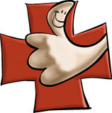 Thumbs up. With a red cross stock illustration