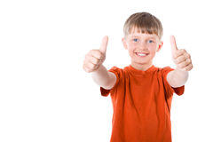 Thumbs Up!. The boy shows his thumbs stock photography