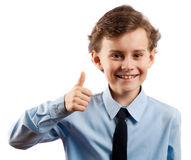Thumbs up!. Cute kid making thumbs up sign, isolated on white Stock Images