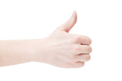 Thumbs up. Isolated to white image of a fist/punch hand signal Royalty Free Stock Photo