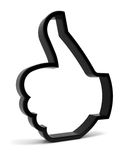 Thumbs Up. Symbol. Three-dimensional black icon isolated on white. Part of a series Royalty Free Stock Photos