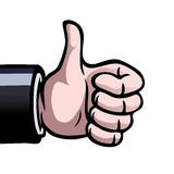 Thumbs up. A hand showing a thumbs up as a sign of approval Stock Image