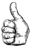 Thumbs-up. A black and white illustration of a human hand giving the thumbs-up Stock Photo