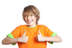 Thumbs up. Happy child with thumbs up for success Stock Photos