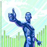 Thumbs up. Concept illustration - futuristic style. A man making a thumbs up gesture royalty free illustration