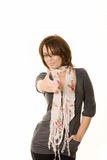 Thumbs up. Photo of a woman holding thumb up isolated on white Royalty Free Stock Photos
