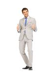 Thumbs up. Bright picture of handsome man with thumbs up Royalty Free Stock Photo