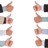 Thumbs up. Hands in a row with thumbs up Royalty Free Stock Images