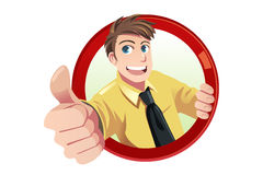 Thumbs up. A vector illustration of a businessman with his thumbs up Royalty Free Stock Photo