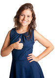 Thumbs up. Attractive young woman giving the thumbs-up, isolated on a white background Royalty Free Stock Images