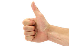 Thumbs up. Gesture on white stock images