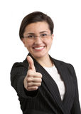 Thumbs up. Businesswoman giving thumbs up for approval DOF focus on hand Stock Photography