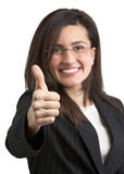 Thumbs Up. Pretty young woman in suit giving thumbs up Royalty Free Stock Photo
