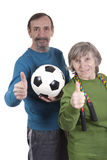 Thumbs up for active lifestyle. Elderly retired people showing thumbs up for active lifestyle Stock Photos