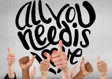 Free Thumbs Up All You Need Is Love Stock Photos - 91388853