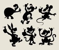 Thumbs up animal silhouettes set. Thumbs up cartoon animals in black shadow. Good use for sticker, avatar, logo or symbol. Easy to use or change color stock illustration