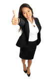 Thumbs up Asian Business Woman. Bird's view of formal Asian Business woman with thumbs up Stock Photography