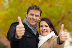 Thumbs up in autumn Royalty Free Stock Photos