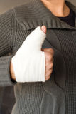 Thumbs up with bandage Stock Images