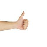 Thumbs up with bandage on white background Stock Photos