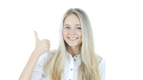Thumbs Up By Beautiful Woman, White Background Stock Images