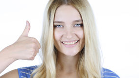 Thumbs Up By Beautiful Woman, White Background Stock Image