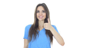 Thumbs Up By Beautiful Young Woman, White Background Stock Images
