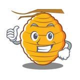 Thumbs up bee hive character cartoon. Vector illustration Stock Photo