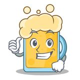 Thumbs up beer character cartoon style. Vector illustration Royalty Free Stock Photography