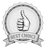 Thumbs up best choice award badge. Detailed thumbs up best choice award winner badge with Guilloche patterns. In vector file image is arranged in handy layers Stock Image