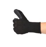 Thumbs up with a black rubber glove. Stock Images