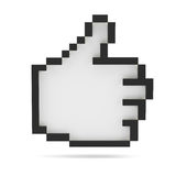 Thumbs Up. Black and white. Pixel style. For your design. 3D illustration stock photography