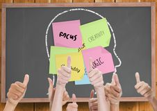 Thumbs up blackboard with head with post-it. Creativity Royalty Free Stock Images
