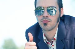 Thumbs Up Blue Tint royalty free stock image